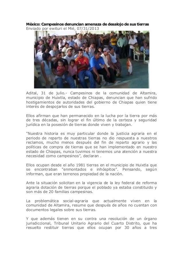 México: Campesinos denuncian amenaza de desalojo de sus tierras