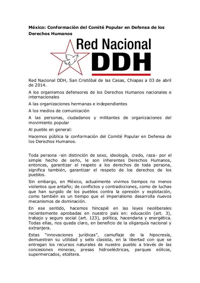 México: Conformación del Comité Popular en Defensa de los Derechos Humanos Red Nacional DDH, San Cristóbal de las Casas, C...