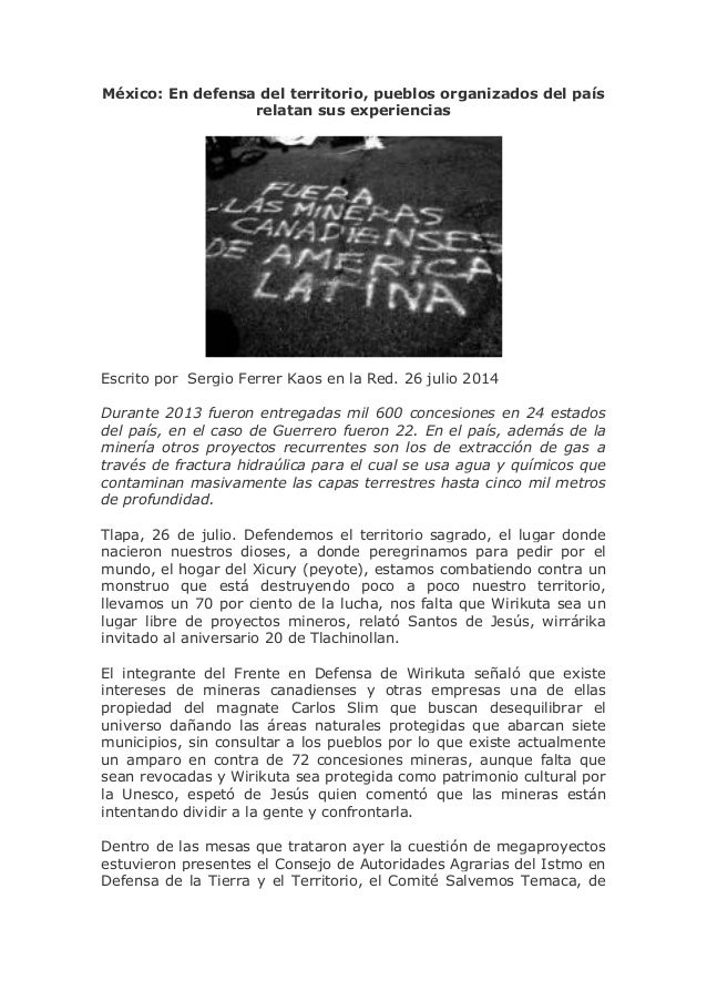 México: En defensa del territorio, pueblos organizados del país relatan sus experiencias Escrito por Sergio Ferrer Kaos en...