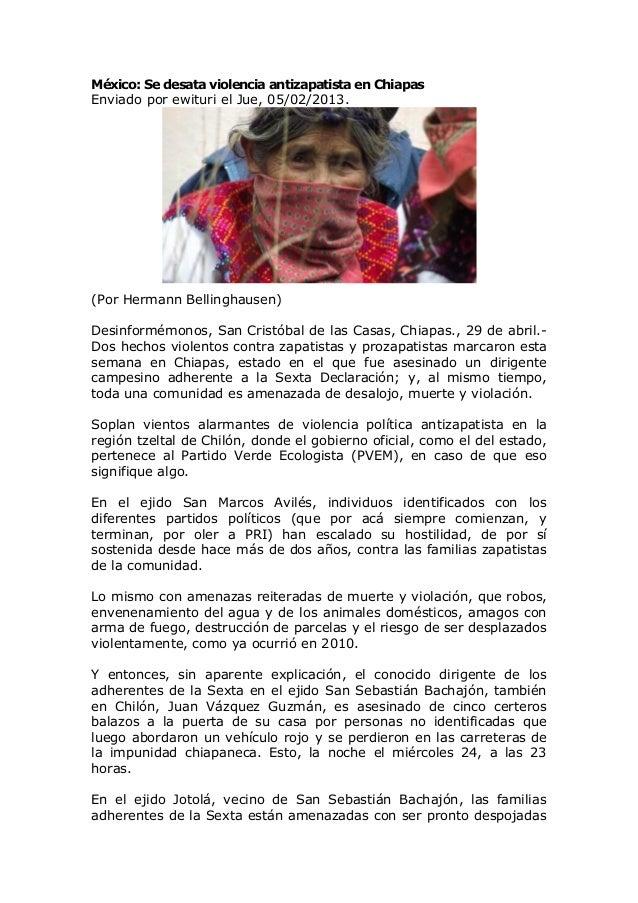 México: Se desata violencia antizapatista en ChiapasEnviado por ewituri el Jue, 05/02/2013.(Por Hermann Bellinghausen)Desi...