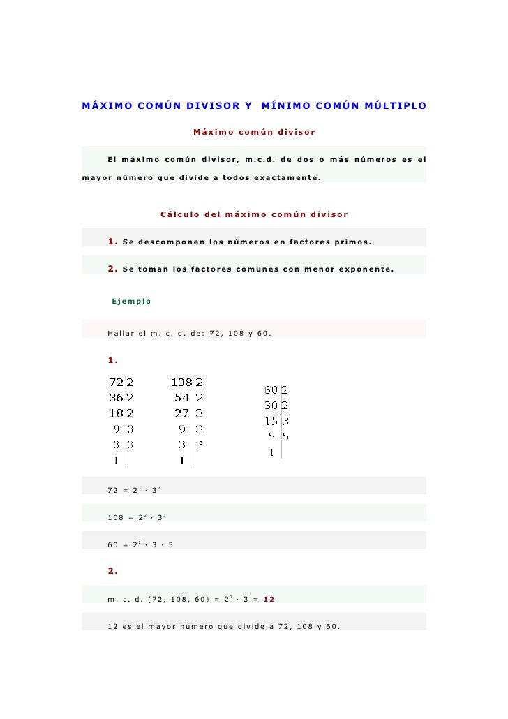 Máximo común divisor y  mínimo común múltiplo
