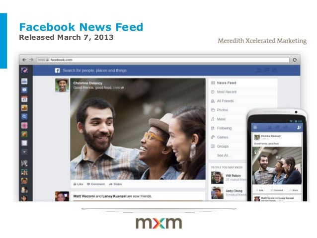 Facebook News FeedReleased March 7, 2013 Example of a client-themed cover slide