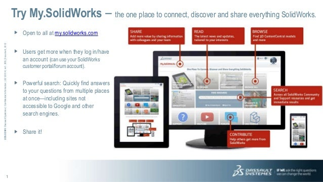 Try My.SolidWorks – the one place to connect, discover and share everything SolidWorks. 3DS.COM © Dassault Systèmes | Conf...