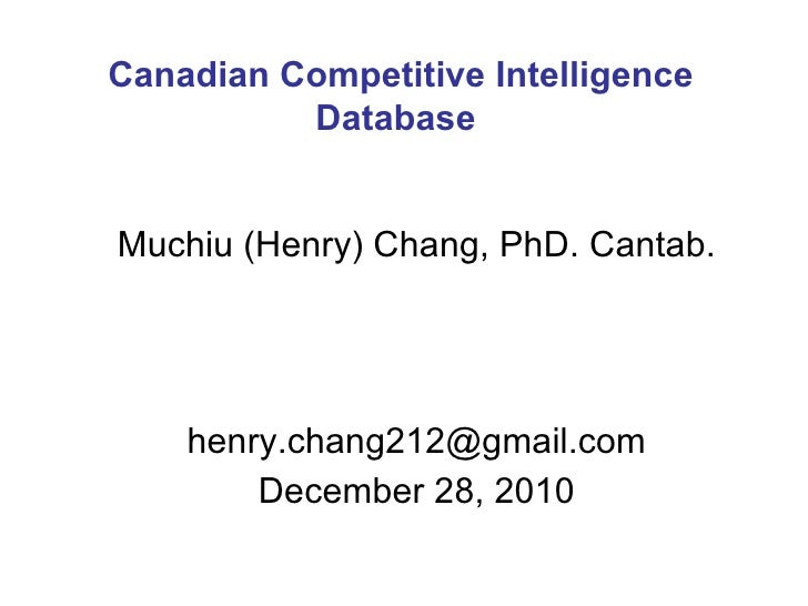 The Archived Canadian Patent Competitive Intelligence (December 28, 2010)