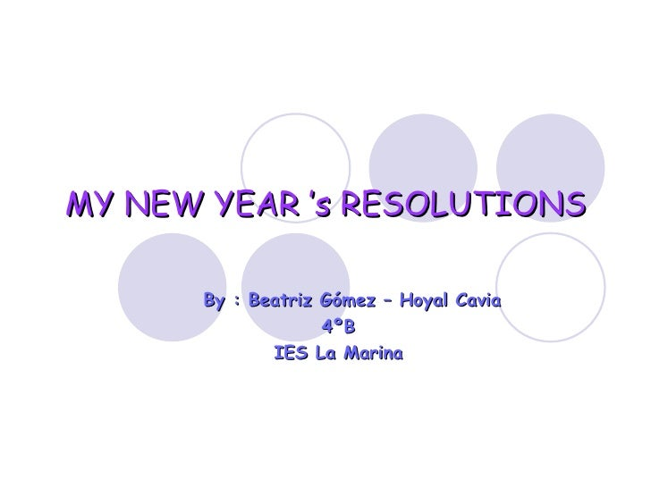 My New Year 'S Resolutions