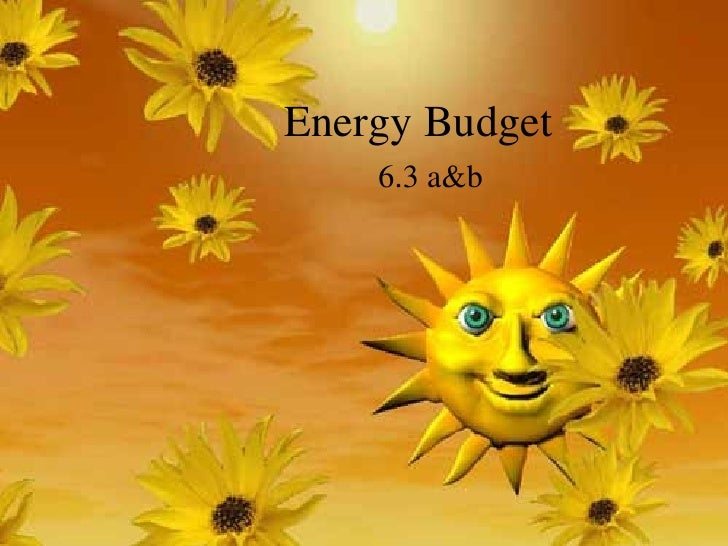 Energy Budget 6.3 a&b