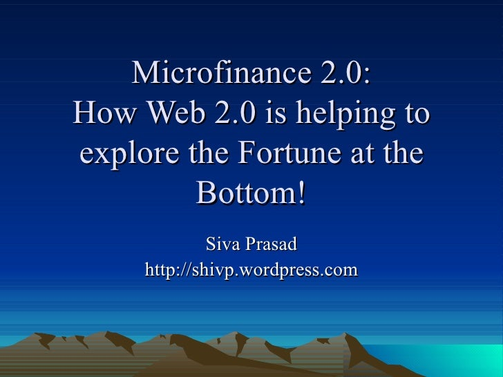 My talk on web2 and micro finance