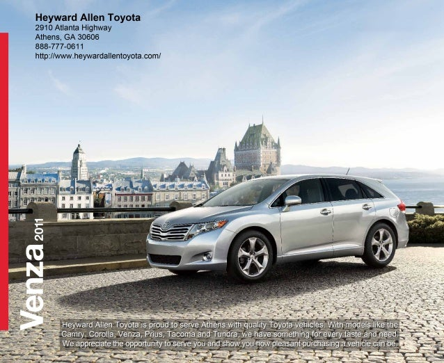 MODEL CHOICES VENZA 4-CYLINDER VENZA V6 2 Every time you start off on a  journey, whether it's a quiet  weekend away or a ...