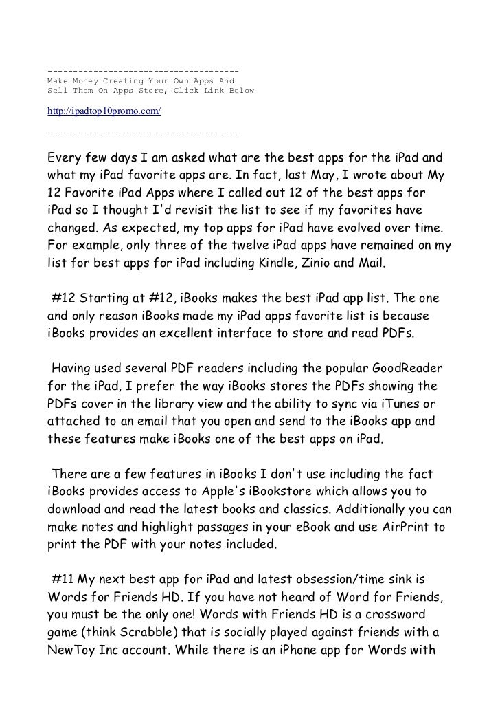 This Document Shows My 12 Favorate Apps For Ipad