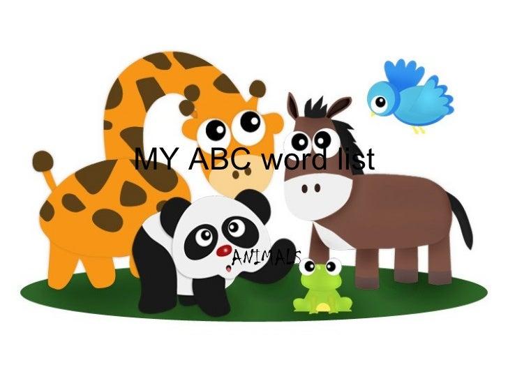 MY ABC word list ANIMALS