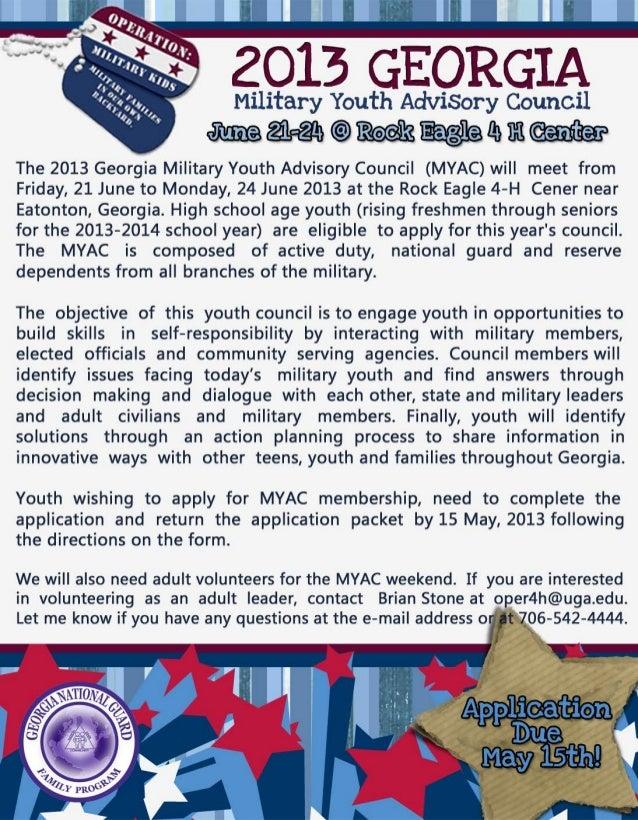 Georgia Military Youth Advisory Council 2013 ApplicationFirst Name ____________________________ Last Name ________________...