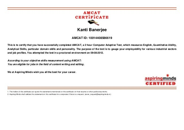 My amcat result 2012