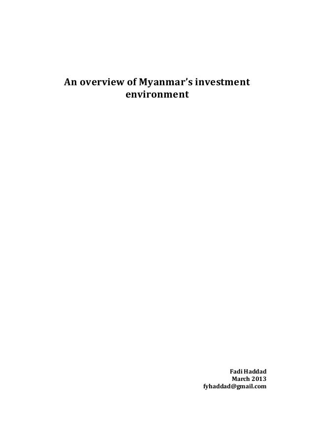 An overview of Myanmar's investment                       environment        ...