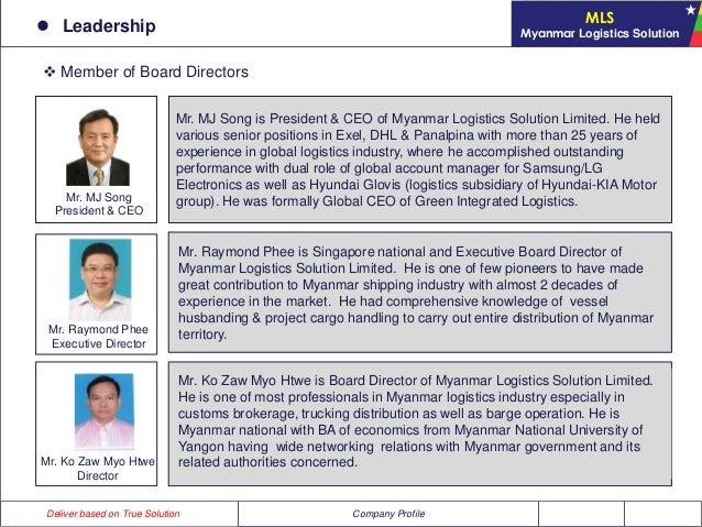 Myanmar logistics solution limited for Hyundai motor myanmar co ltd