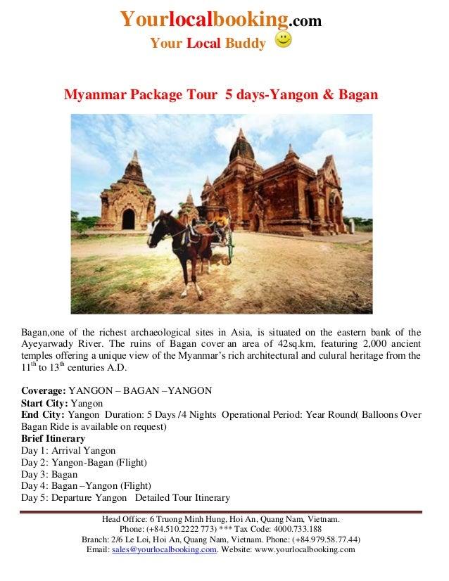 Myanmar package tour  5 days yangon and bagan