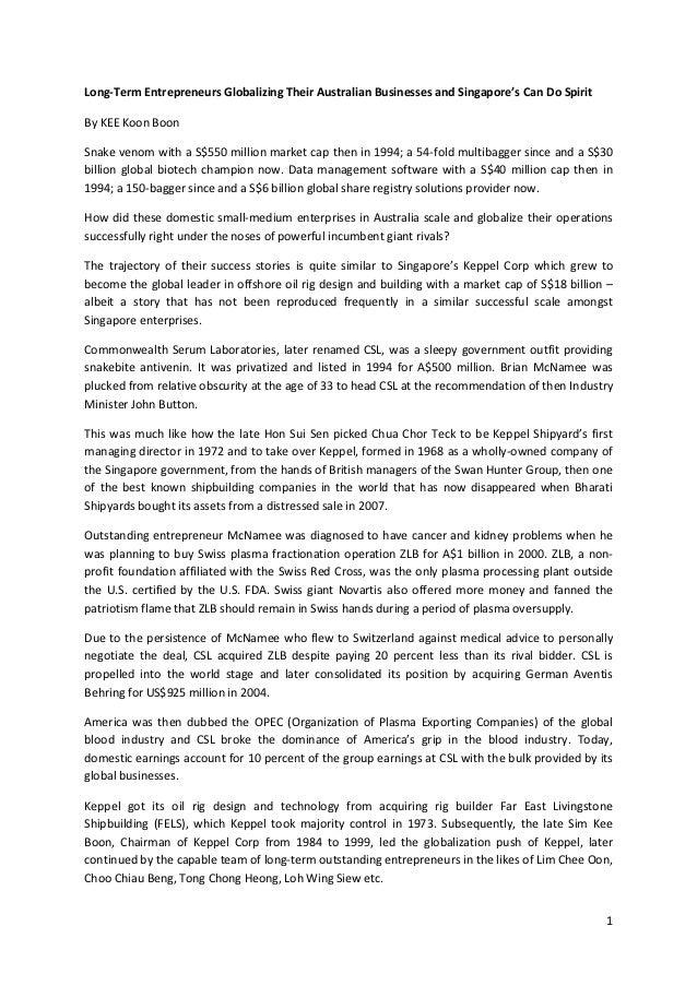 Long-Term Entrepreneurs Globalizing Their Australian Businesses and Singapore's Can Do SpiritBy KEE Koon BoonSnake venom w...