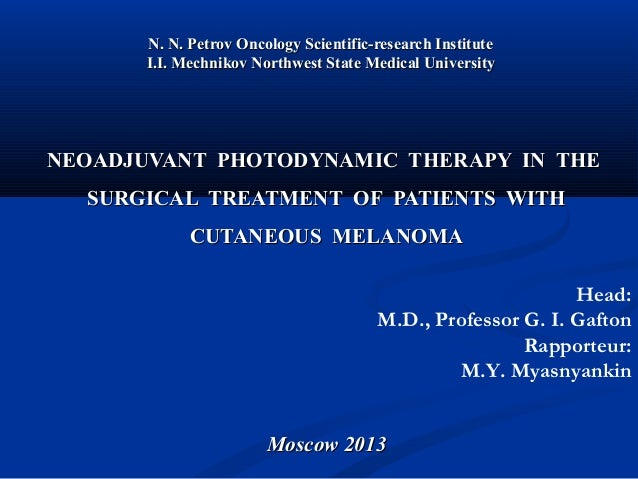 NEOADJUVANT  PHOTODYNAMIC  THERAPY  IN  THE  SURGICAL  TREATMENT  OF  PATIENTS  WITH CUTANEOUS  MELANOMA