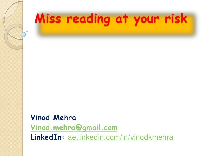 Miss Reading @ your Risk