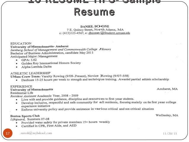Resume anticipated major