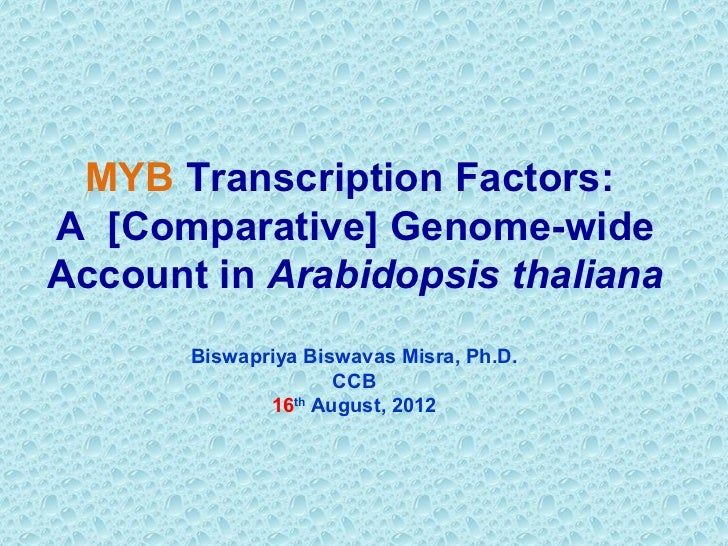 MYB Transcription Factors:A [Comparative] Genome-wideAccount in Arabidopsis thaliana       Biswapriya Biswavas Misra, Ph.D...