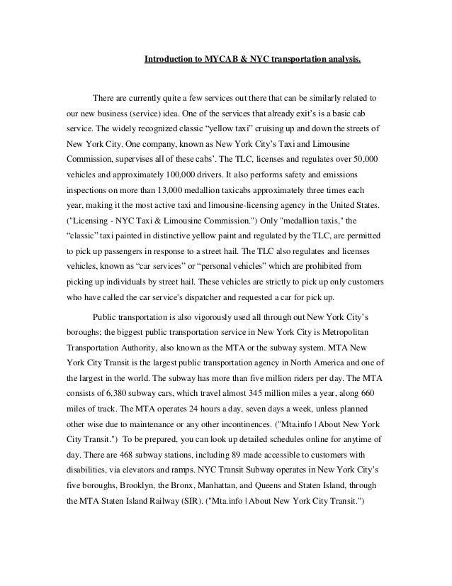 MYCAB Proposal and transportation analysis