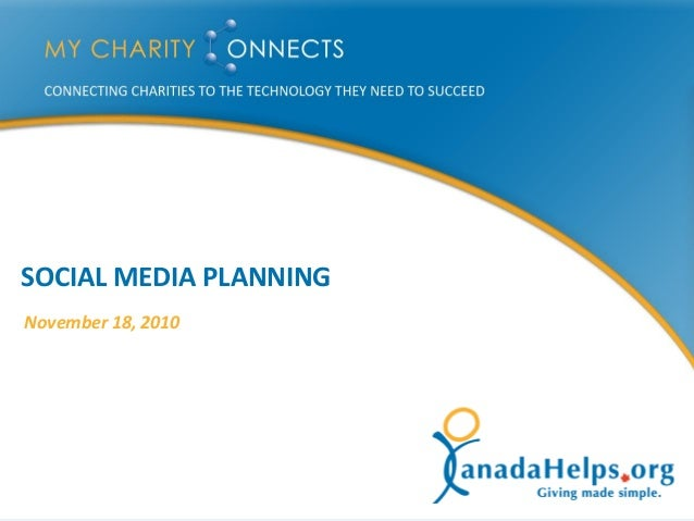MyCharityConnects Peel - Social Media Planning [2010-11-18]