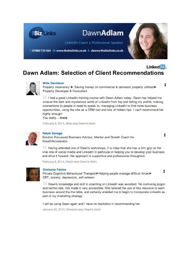 Dawn Adlam: Selection of Client Recommendations