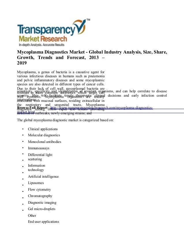 Mycoplasma Diagnostics Market - Global Industry Analysis, Size, Share, Growth, Trends and Forecast, 2013 – 2019 Mycoplasma...