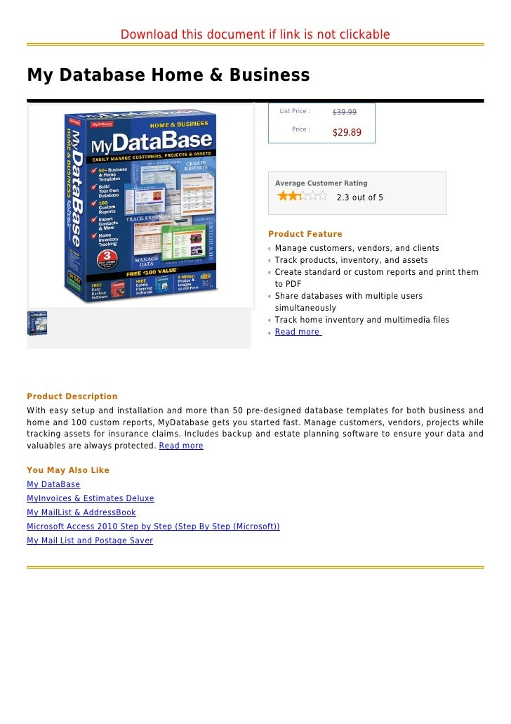 Download this document if link is not clickableMy Database Home & Business                                                ...