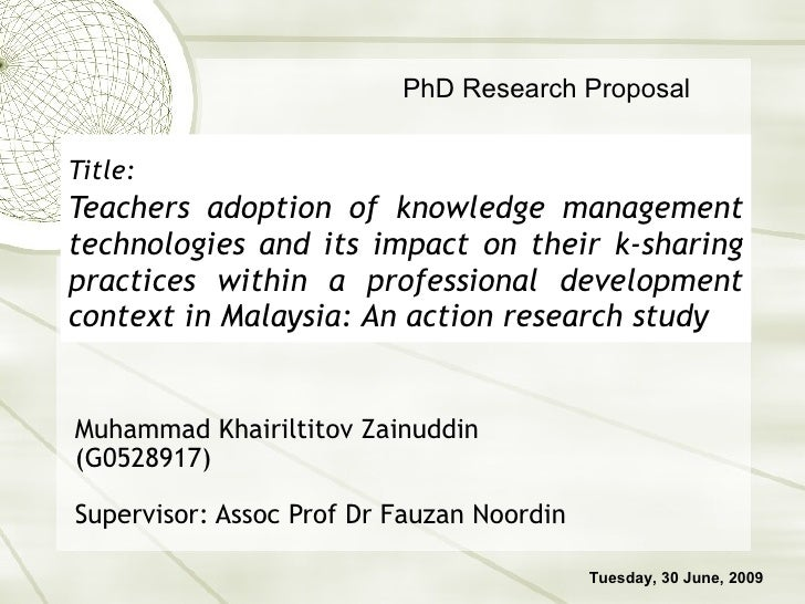 Title:   Teachers adoption of knowledge management technologies and its impact on their k-sharing practices within a profe...