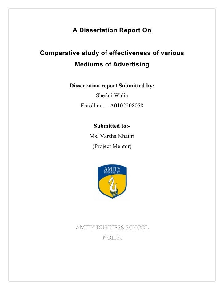 Comparative Study of Effectiveness of various mediums of Advertising
