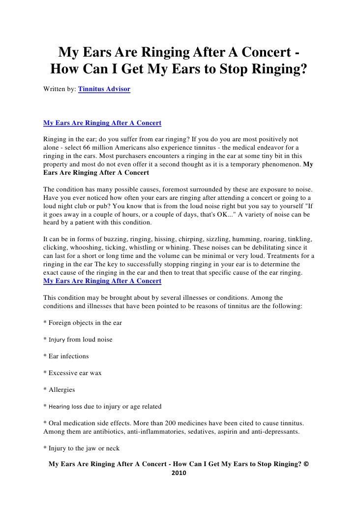 2 Months In, Concert Tinnitus – Tinnitus Research & Development