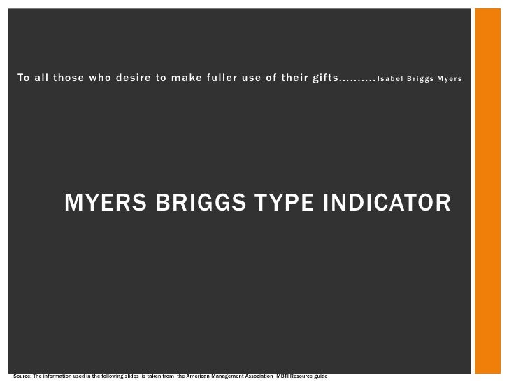 Myers briggs type indicator final