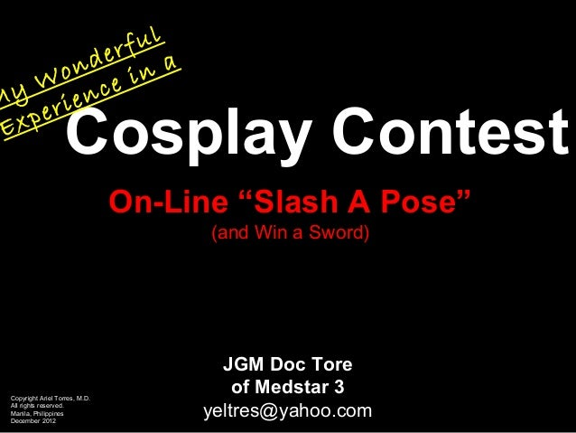 My Experience in an On-Line Cosplay Contest
