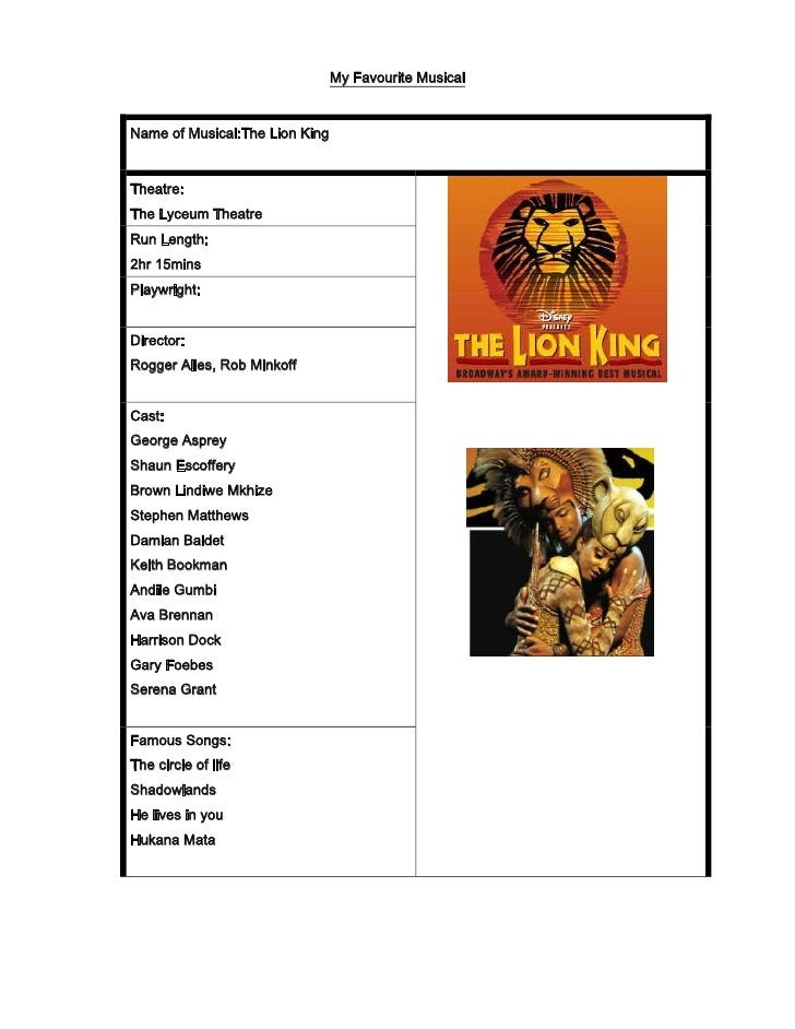 My Favourite Musical<br /><ul><li>Name of Musical: The Lion King Theatre:The Lyceum Theatre242570-1016000433070145161000Ru...