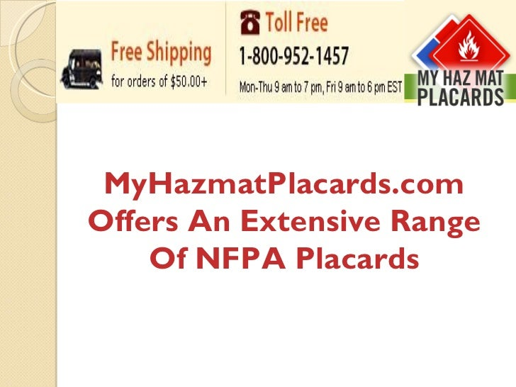 MyHazmatPlacards.com Offers An Extensive Range Of NFPA Placards
