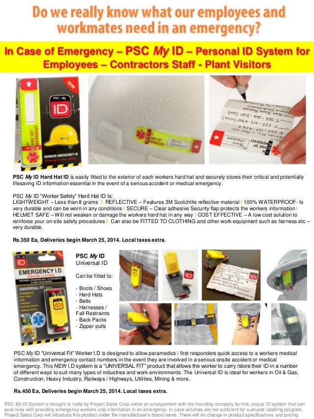 In Case of Emergency – PSC My ID – Personal ID System for Employees – Contractors Staff - Plant Visitors  PSC My ID Hard H...