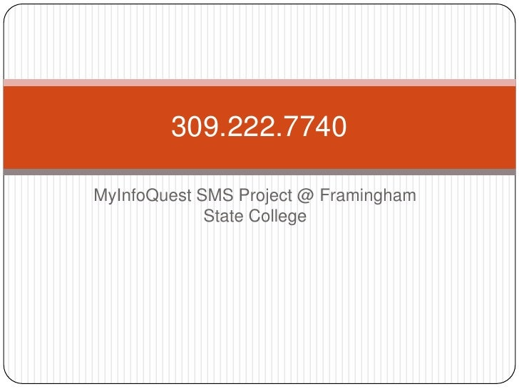Myinfoquest SMS Project at FSC