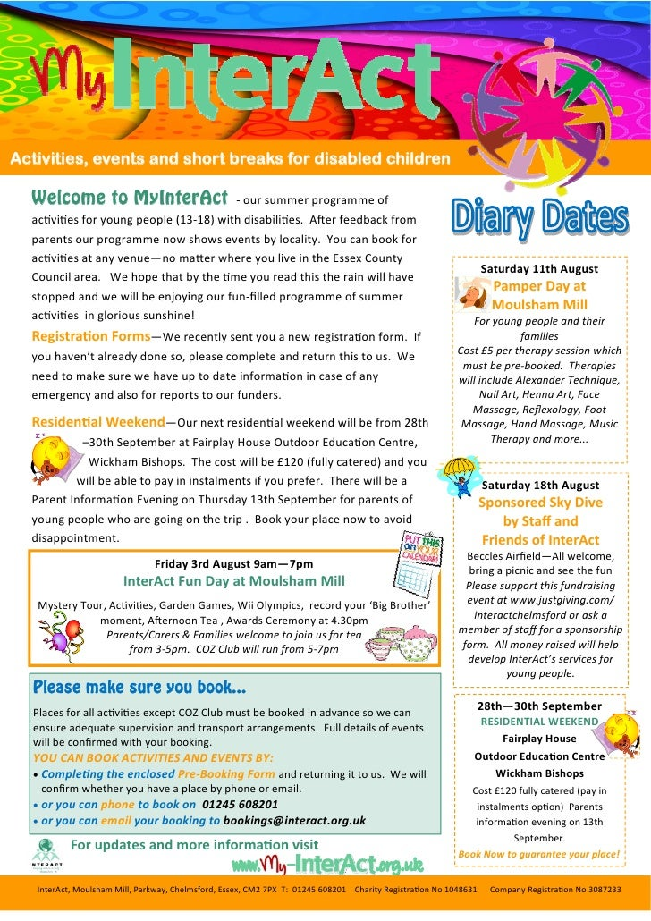 Activities, events and short breaks for disabled children  Welcome to MyInterAct                            ‐ our summer p...