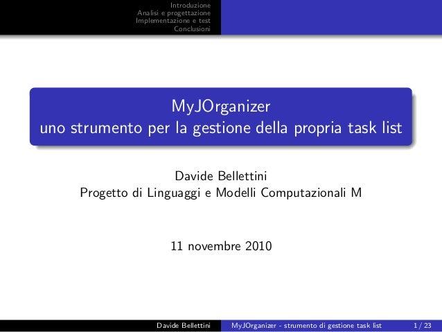MyJOrganizer presentazione