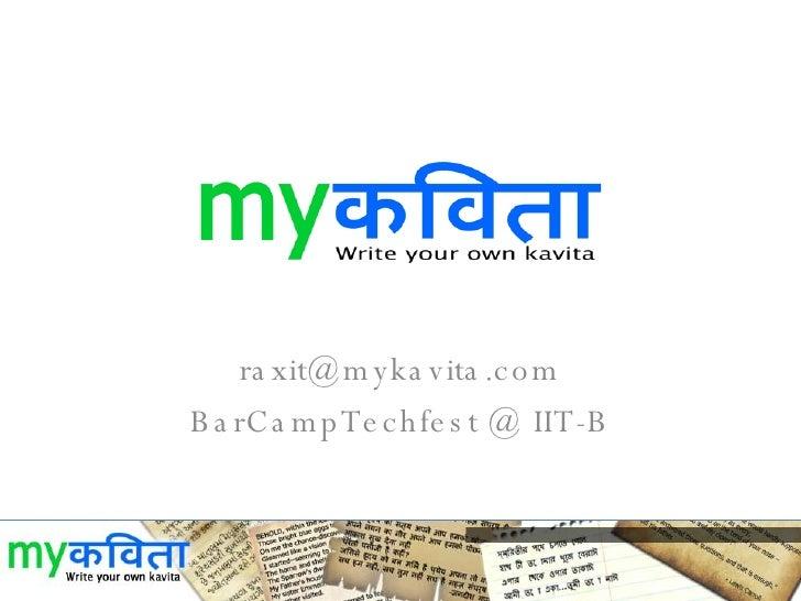 [email_address] BarCampTechfest @ IIT-B