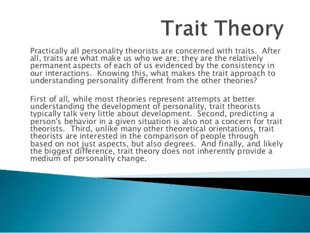 Differential psychology: Trait vs. personal construct theory