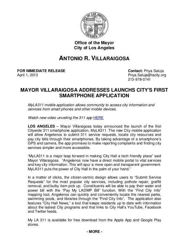 Office of the Mayor                                City of Los Angeles                       ANTONIO R. VILLARAIGOSAFOR IM...