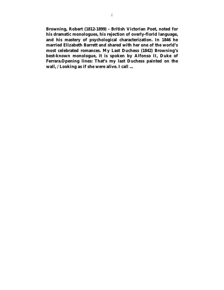 my last duchess robert browning essay