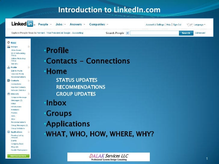 Introduction to LinkedIn.com    •Profile •Contacts - Connections •Home    •STATUS UPDATES    •RECOMMENDATIONS    •GROUP UP...