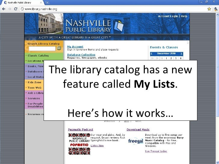 The library catalog has a new feature called  My Lists . Here's how it works…