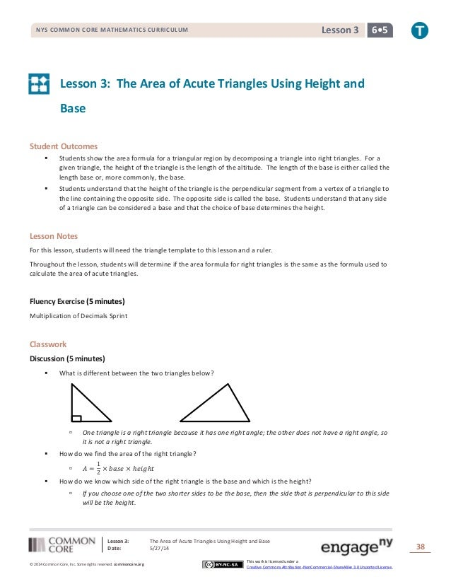 Lesson 3: The Area of Acute Triangles Using Height and Base Date: 5/27/14 38 © 2014 Common Core, Inc. Some rights reserved...