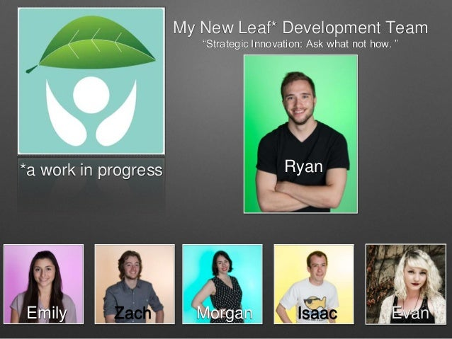 """My New Leaf* Development Team """"Strategic Innovation: Ask what not how. """" Emily *a work in progress Zach EvanIsaacMorgan Ry..."""