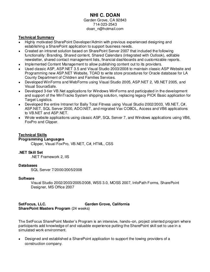 sharepoint resume - Roho.4senses.co