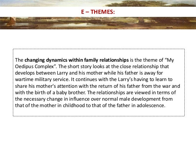 larrys realization in my oedipus complex by Although it would appear that the father in my oedipus complex is the one in control, it is really the mother the story focuses on larry getting used to his father being back from the war and how.